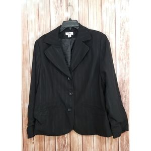 Plus size Cato Black Silver Pinstripe Blazer 16w